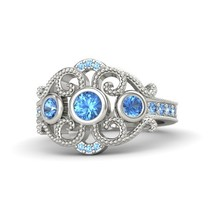 1.17 Ct Round Cut Blue Topaz Engagement Autumn Palace Ring 14k White Gold Finish - $97.98