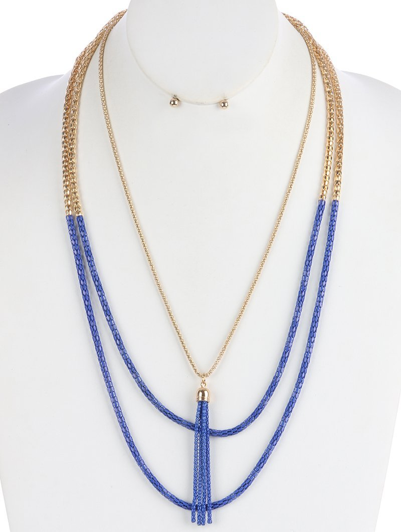 Layered Gold-Tone Mesh Chain Tassel Necklace and Earrings Set (Blue)