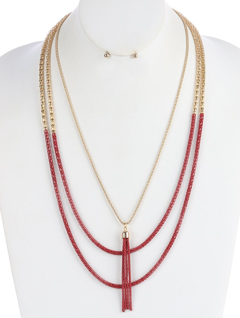 Layered Gold-Tone Mesh Chain Tassel Necklace and Earrings Set (Red)