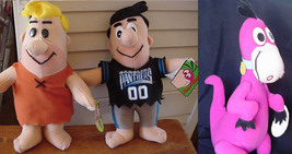 Plush Football Flintstones Fred, Barney, Dino Vintage Stuffed Toys Set of 3 - $59.99