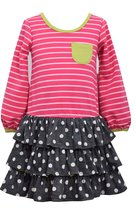 Little Girls 2T-6X Pink/Grey Stripes and Dots Triple Tier Pocket Knit Dress