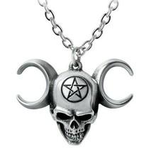 Alchemy Gothic Truinity Skull Pendant Triple Moon Goddess Pentagram Pewt... - $20.95