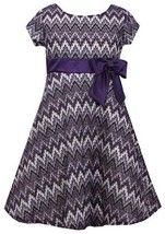Big Girls Tween 7-16 Purple Pink Metallic Chevron Stripe Fit Flare Social Dress