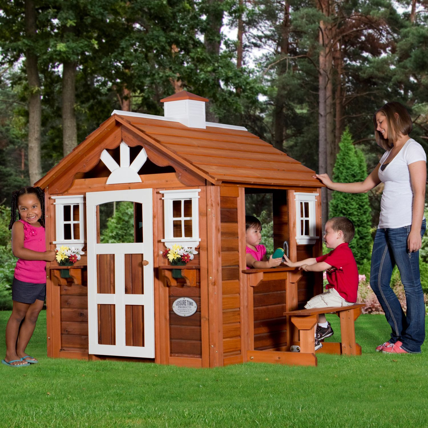 children playhouse kids play fun outdoor garden log cabin