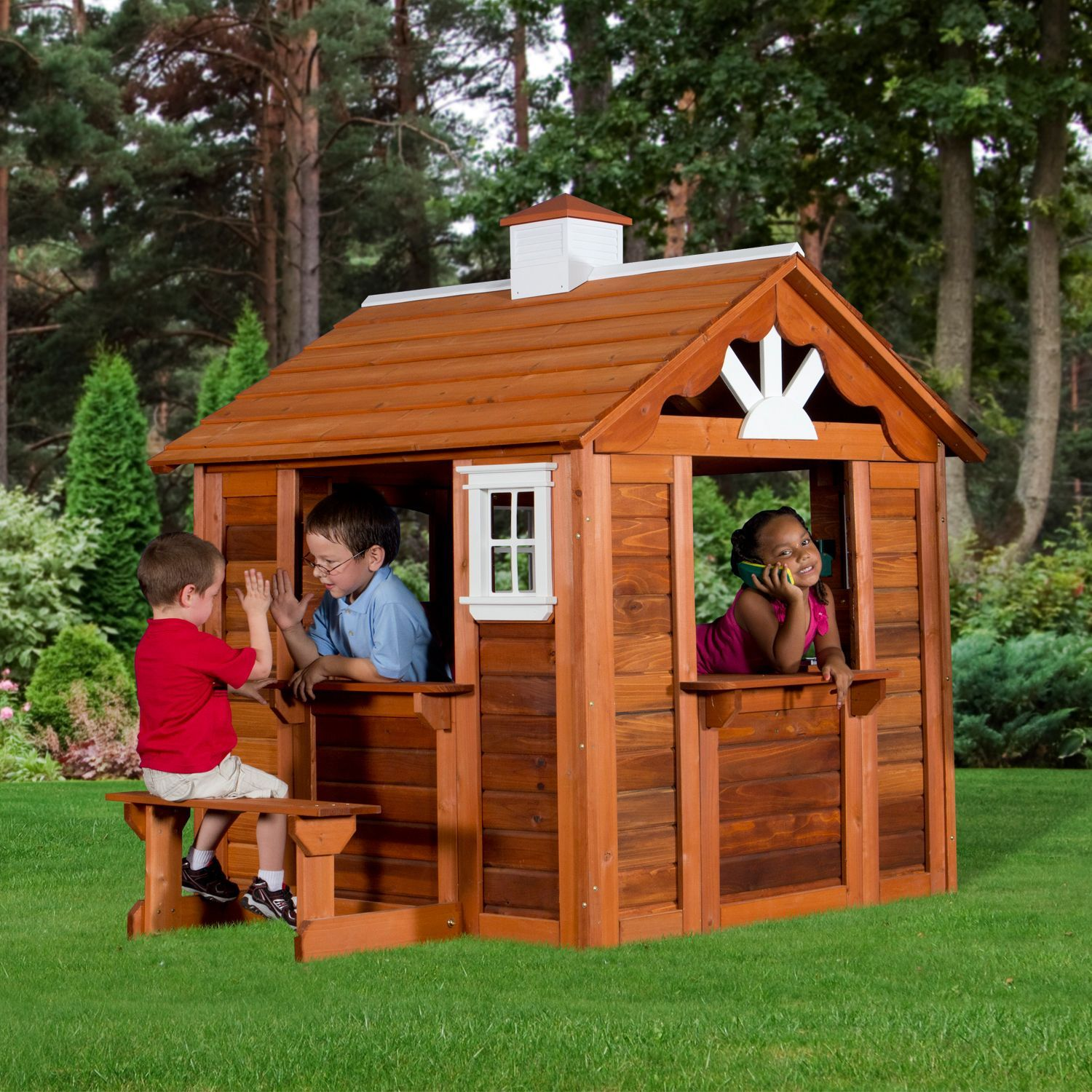 Children playhouse kids play fun outdoor garden log cabin for Kids outdoor playhouse
