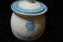 Blue Stoneware Sponged Heart Cookie Jar - $12.61