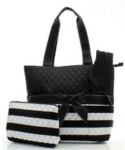 Quilted Striped Diaper Bag Blk - $24.56