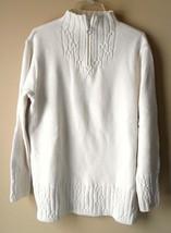 Coldwater Creek Beige Sweater Womens Size SMALL Heart Zipper Front Cabel Knit  - $22.70