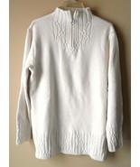Coldwater Creek Beige Sweater Womens Size SMALL Heart Zipper Front Cabel... - $22.70