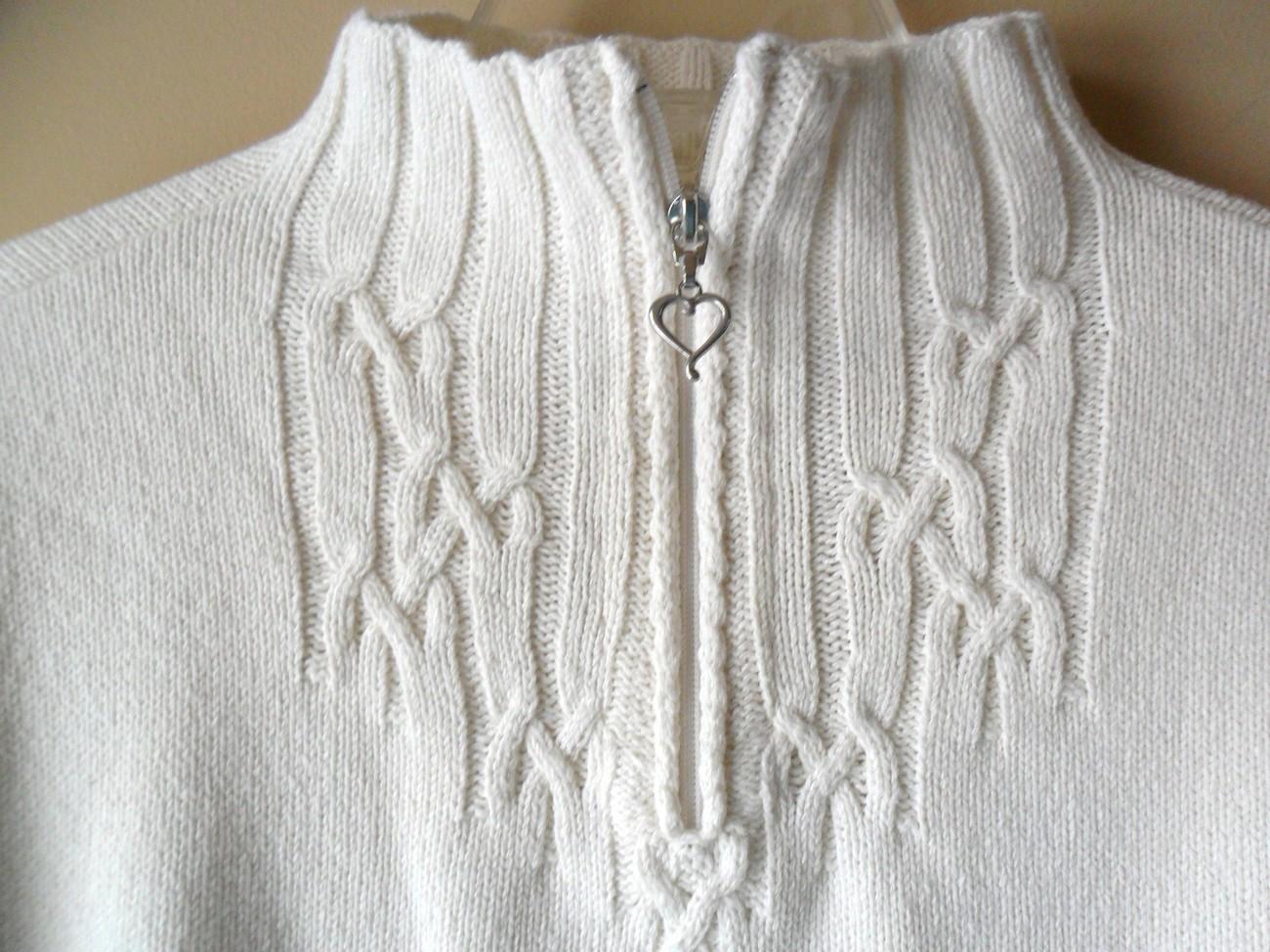 Coldwater Creek Beige Sweater Womens Size SMALL Heart Zipper Front Cabel Knit