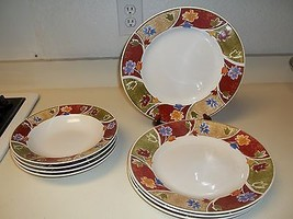 Gibson Everyday stoneware Dinner Plates and Bowls ~ Flower Pattern ~ 8 Pcs  - $52.46