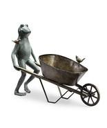 Large Frog & Bird Friend Wheelbarrow Planter Flower Pot Metal Plant Hold... - $212.85