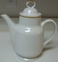 Genuine Stoneware Japan ~ Coffee Pot Teapot With Lid Off White with Brow... - $39.59