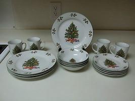 Noel Morning Holiday Stoneware Dish Set 16 Pieces Plates Bowls Mugs - $74.24