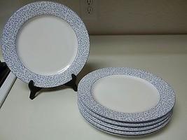 Sakura Hallmark Alanna Set of 6 Stoneware Dinner Plates Blue Flowers  - $54.44