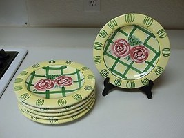 Hausenware Libby Wilkie Stoneware ~ Set of 6 Salad Plates Yellow With Roses - $46.52