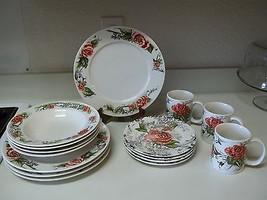 Rose Toile Stoneware ~ 19 piece set ~ Plates Rimmed Soup Bowls Mugs - $98.99