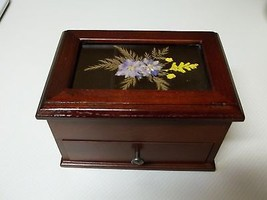 Nice Wooden Jewelry Box ~ Galss with Flowers On Top - $34.64