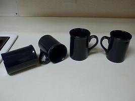 Royal Norfolk Stoneware Cups Mugs Tall ~ Dark Blue ~ Set of 4 NEW - $34.64