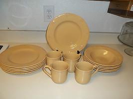Thompson Pottery Brown Dish Set ~ 15 Piece Set ~ Plates Bowls Cups - $79.19