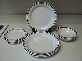 Gibson Stoneware Black Rings 11 Piece Set Dinner Salad Plates & Bowls  - $59.39