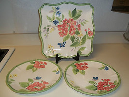 Certified International Pamela Gladding ~ 3  Platters  Butterflys & Flowers - $74.24