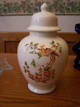 White Ceramic Apothecary Jar with Bird and Flow... - $34.64