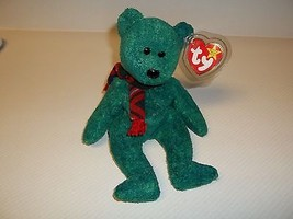 TY Beanie Baby WALLACE Green Bear With Mint Tags FLAT Tush Tag  - $8.90