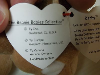f45bdf3003f ... Ty Derby the Horse Beanie Baby Retired Mint with Tags Error On Tag Soft  Mane