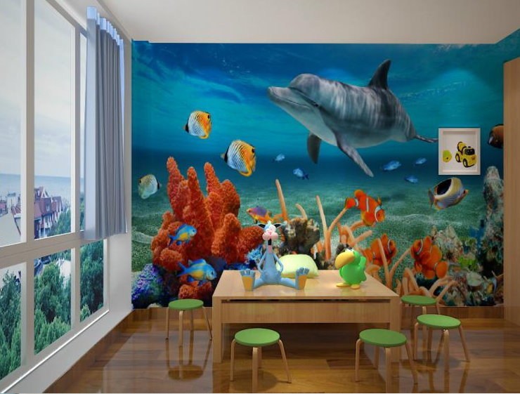 Large dolphin mural wallpaper 3d underwater world marine for Dolphin mural wallpaper