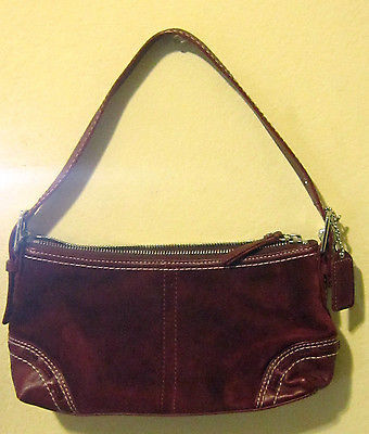 Coach The Suede Collection Burgundy Small Purse Bag Go772 F11204