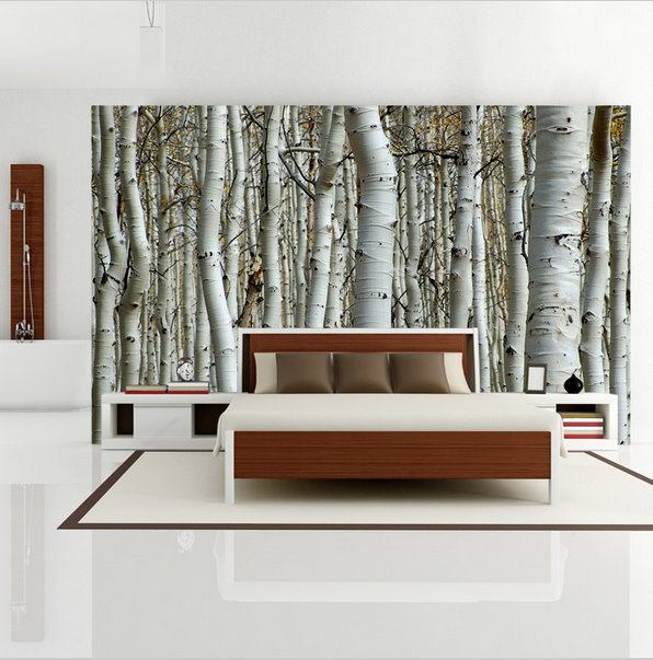 Custom seamless mural simple european 3d white birch for Mural 3d simple