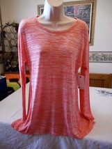 Women's Stylus Dubarry Coral Long Sleeve Shirt Top Medium Petite New W Tags - $19.79