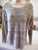 Women's St. John's Bay Taupe Shadow Ivory Knit Sweater MEDIUM NEW W TAGS - $24.74
