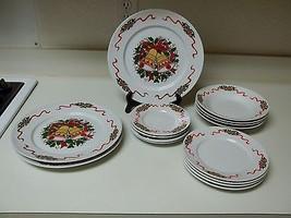 Holiday Bells & Ribbons Stoneware Dish Set ~ 15 Piece Set Plates Bowls - $49.49
