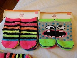 Faded Glory Girls Socks No Show Size Small 4-7 1/2 ~ 12 Pairs Stripes Monsters - $10.88