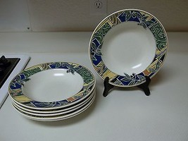 Mikasa Olive Grove ~ Set of 6 Rimmed Bowls CAA41 ~ 9 1/4 Inches Green Bl... - $49.49
