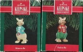 Two Hallmark 1991 - DAD & MOM TO BE - Christmas Ornament Kangaroo - $3.55