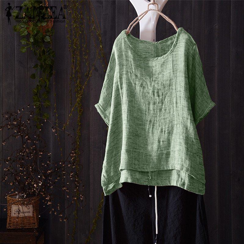 Top fashion 2018 zanzea women casual o neck short batwing sleeve loose blouse summer solid baggy