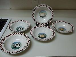 Tienshan Folk Art Farm Animals ~ Set of 5 Rimmed Bowls - $39.59