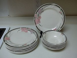 Gibson Housewares Gray & Pink Flowers ~ Dinner Plates & Bowls 11 Pieces - $59.39