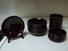 Crate & Barrel Japan Stoneware ~ 18 Pieces Copper Speckled ~ Bowls - $79.19