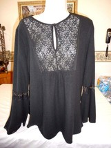 Women's Coffee & Cake Long Sleeve Blouse Black Size Large NEW - $32.66