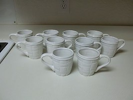 Home Interiors Basket Weave ~ Set of 10 Cups Mugs ~ White Stoneware - $59.39