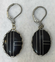 Earrings Black Ovals w/ Art Deco Geometric Lines Silver Tone Metal Vinta... - $14.84