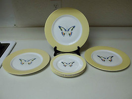Nikita Translucent Fine China Butterfly's 3 Dinner & 3 Salad Plates Yellow - $49.49