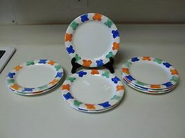 Pier 1 Stoneware Set of 8 Salad Plates X's Orange Blue Green Hand Painte... - $79.19