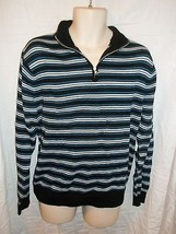 Ralph Lauren Chaps Men's Sweater Medium Blue Striped With Zip  NWOT 100% Cotton - $18.80