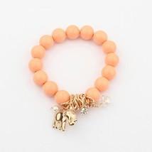 Vintage Bohemia National Beads Lucky Elephant Stretch Bracelet Women  Orange - $25.99