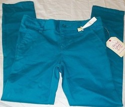 Girls Faded Glory Skinny Chino Pants Odes Sea Blue Size 5 New With Tags - $9.89